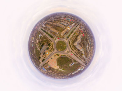 Полет над городом — кольцо, центр